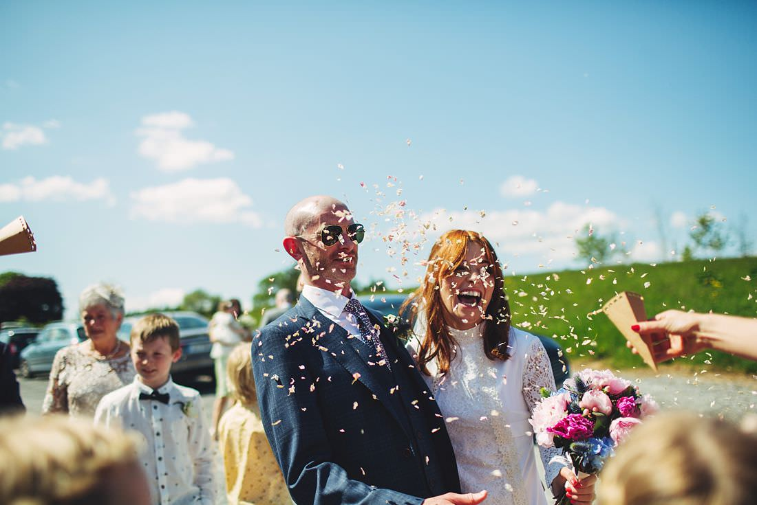 Bride and Groom confetti at mount druid