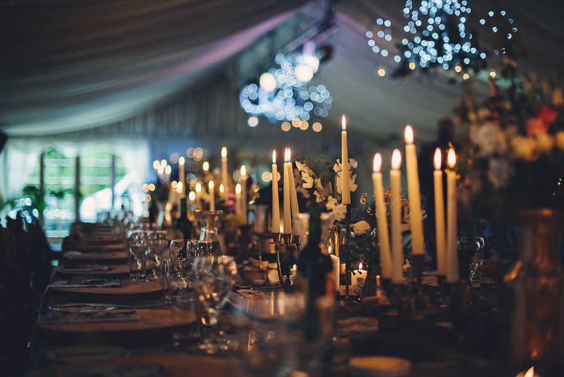wedding candles on a wedding table