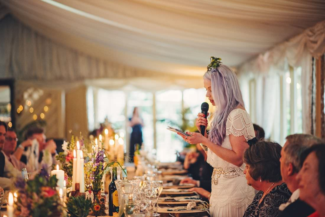 the bride at a wedding making a speech