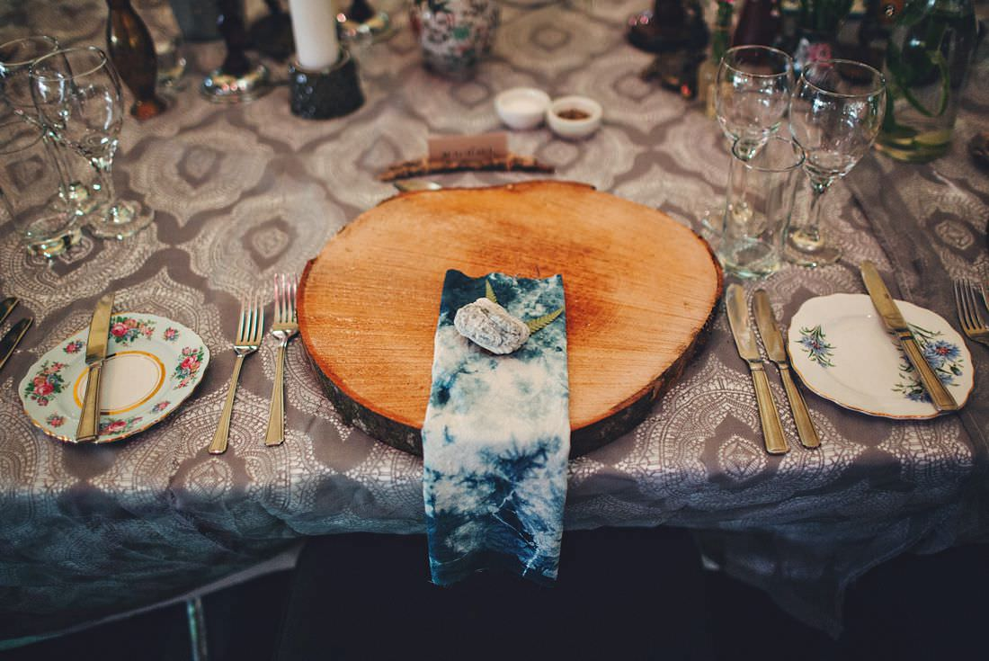 place setting with a piece of wood