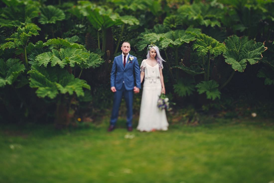Ballybeg house Alternative Wedding photography of a bride and groom in front of giant rhubarb