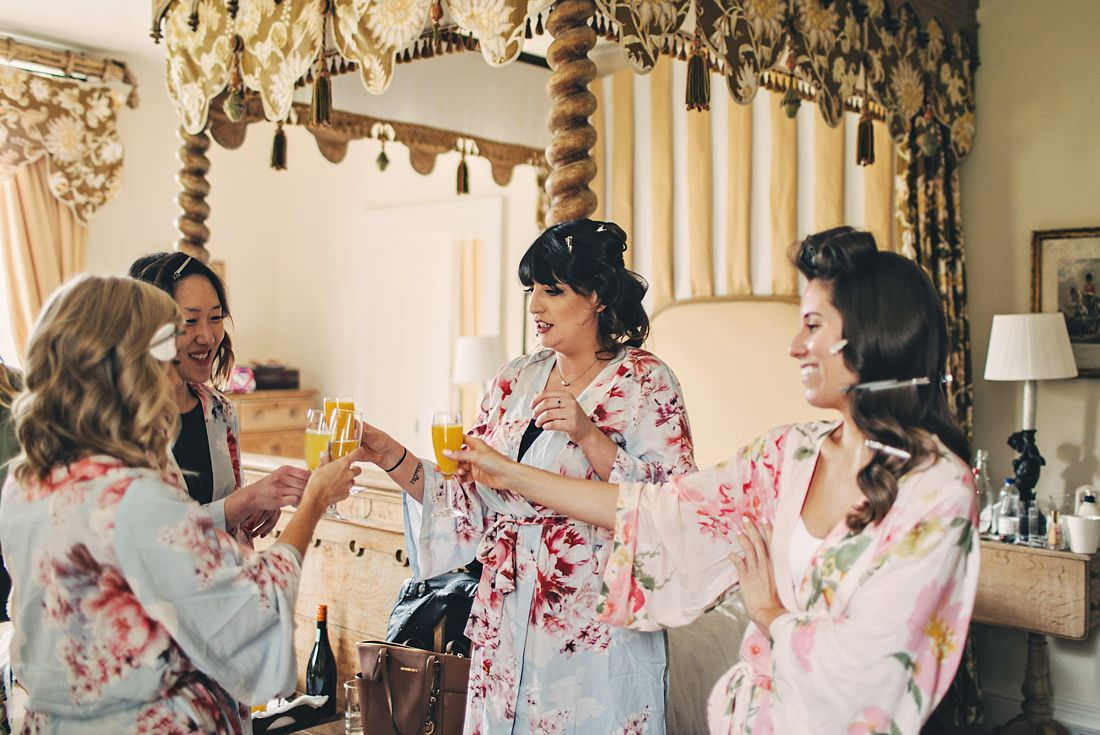 Bridesmaids toasting