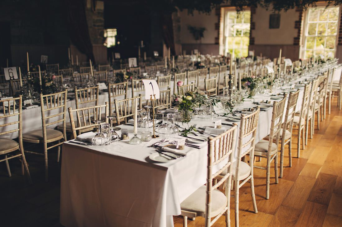 a table at a wedding venue set for dinner