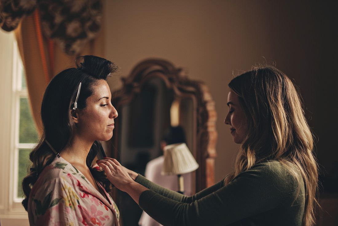 A bride getting her hair done