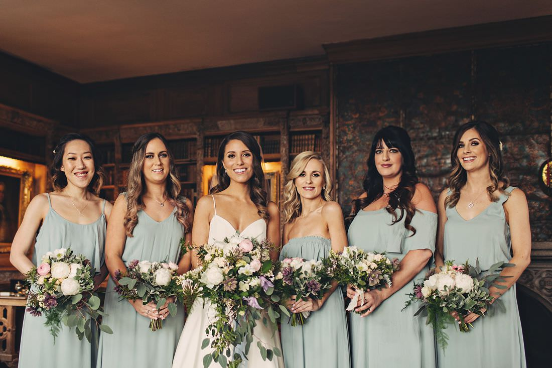 Bride and bridesmaids in a group shoot