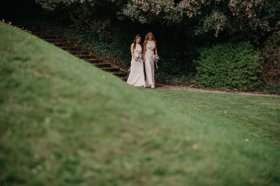 Bridesmaids walking down the aisle