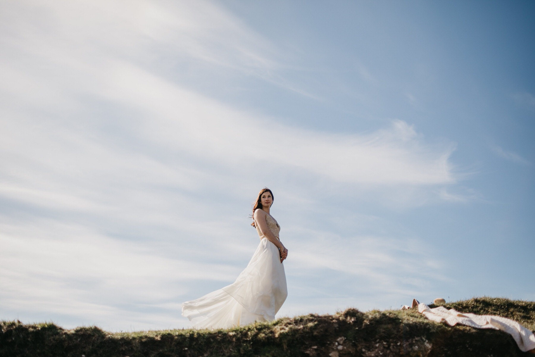 Bride at the top of a hill